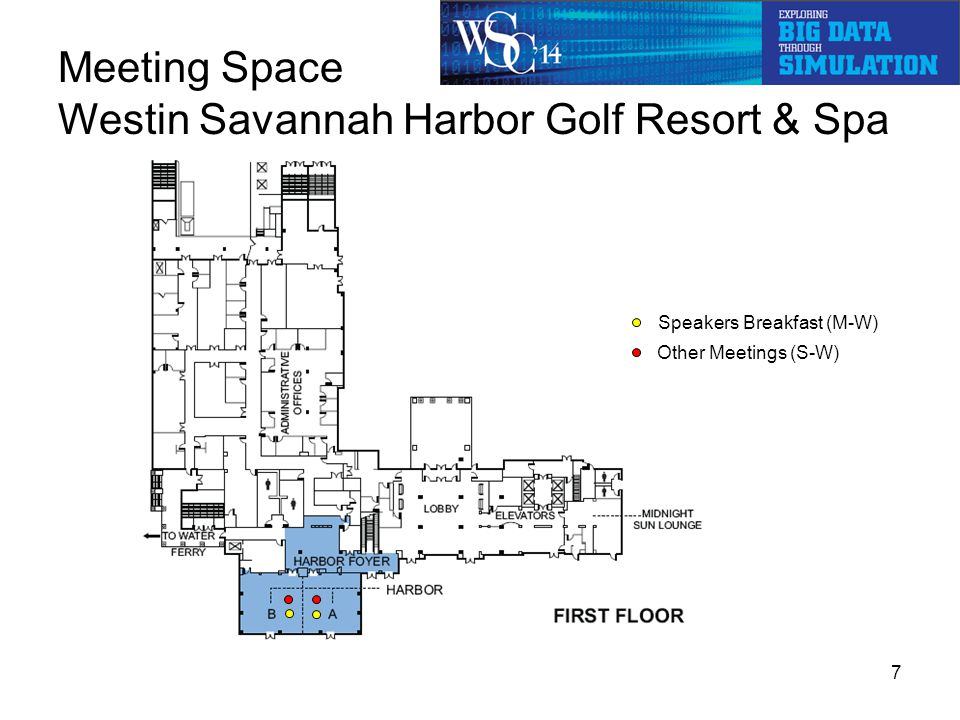 Meeting Space Savannah Int'l Trade & Convention Center 18 breakouts Registration, Staff Office Monday - Wednesday Exhibits, Internet Café, Food Breaks, Boxed Lunch Titan Speakers A/V storage 8