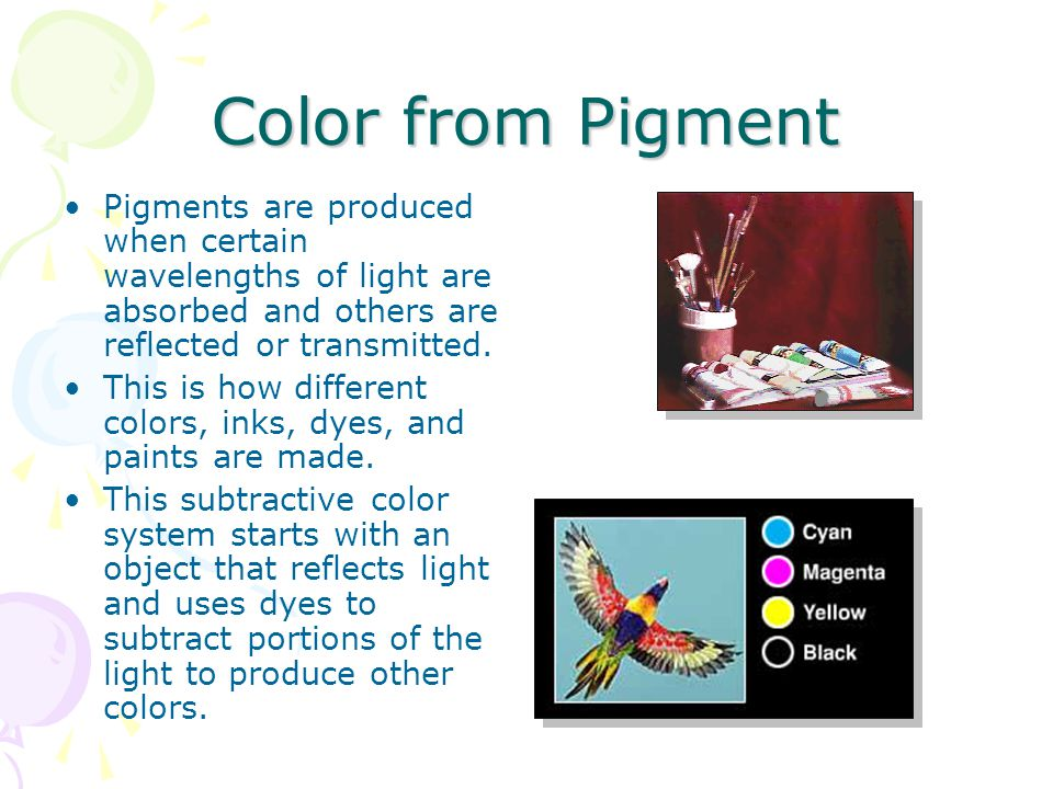 Color From Pigment Because the color spectrum is much larger for RGB, when files are converted from RGB to CMYK, colors in the RGB spectrum that are outside of the CMYK spectrum look dirty and muted.