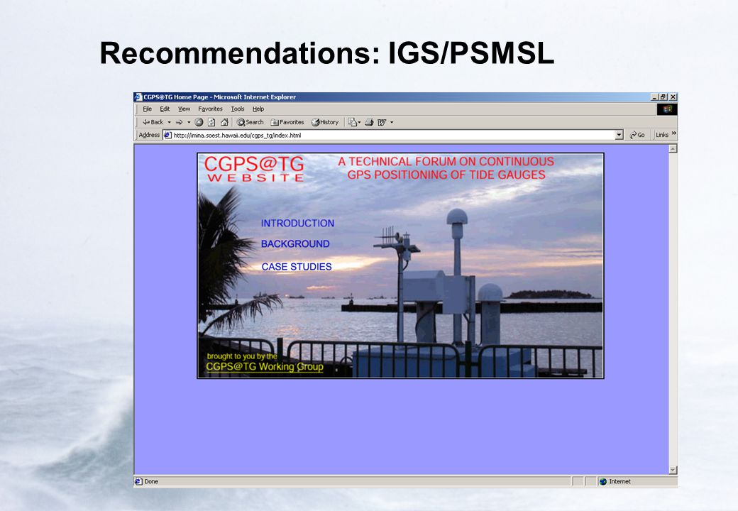 Recommendations: IGS/PSMSL