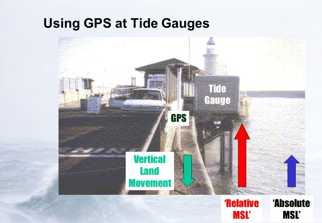 Using GPS at Tide Gauges Tide Gauge GPS Vertical Land Movement 'Relative MSL' 'Absolute MSL'