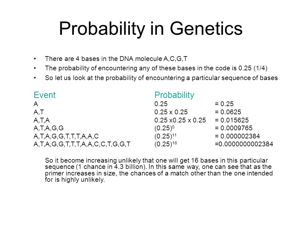 Probability in Genetics There are 4 bases in the DNA molecule A,C,G,T The probability of encountering any of these bases in the code is 0.25 (1/4) So