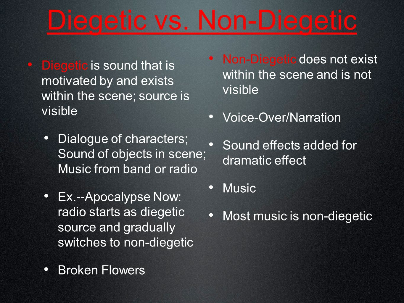 Diegetic vs.