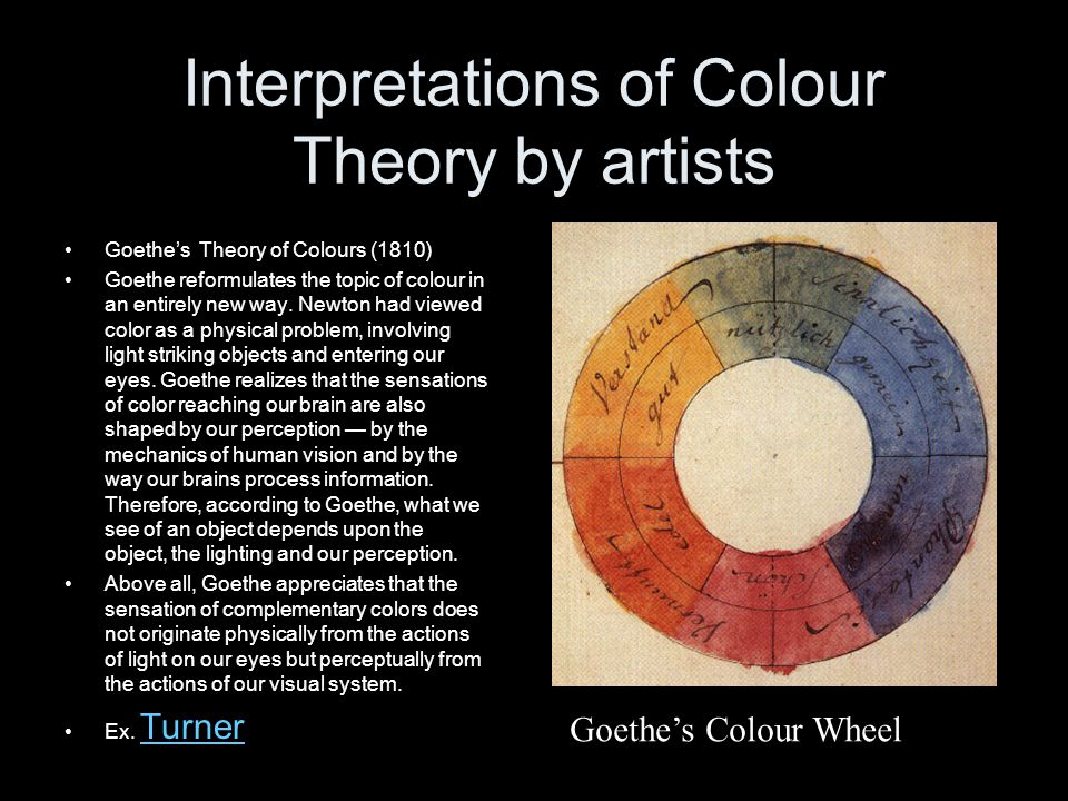 Interpretations of Colour Theory by artists Goethe's Theory of Colours (1810) Goethe reformulates the topic of colour in an entirely new way. Newton h
