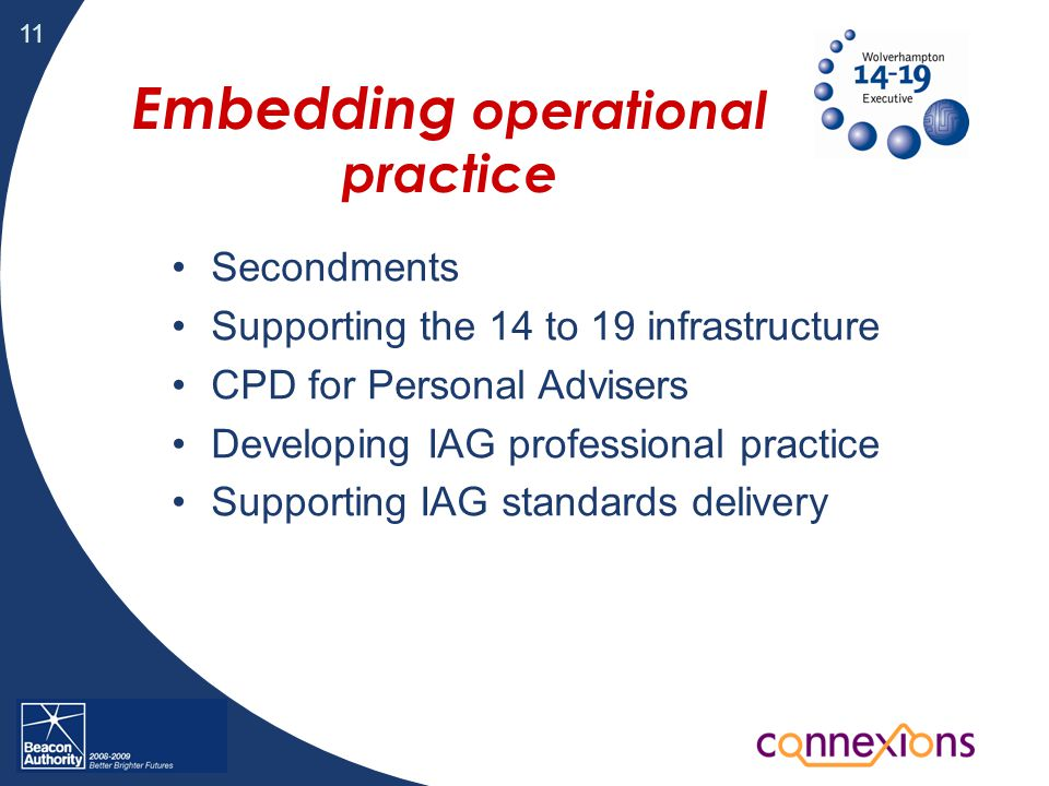 11 Embedding operational practice Secondments Supporting the 14 to 19 infrastructure CPD for Personal Advisers Developing IAG professional practice Supporting IAG standards delivery