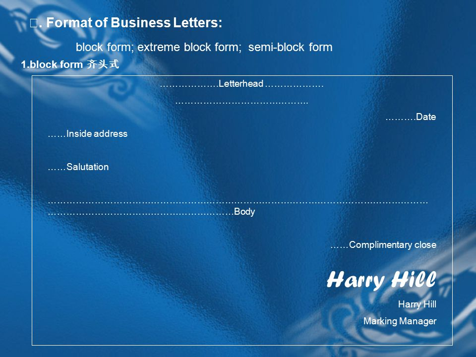 Ⅱ. Format of Business Letters: block form; extreme block form; semi-block form 1.block form 齐头式 ……………….Letterhead ………………. ……………………………………. ……….Date ……I