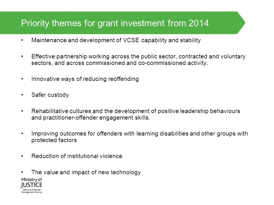 Priority themes for grant investment from 2014 Maintenance and development of VCSE capability and stability Effective partnership working across the p