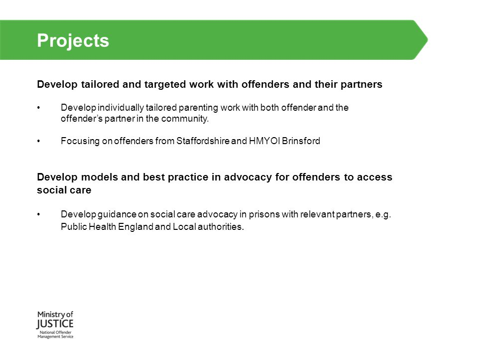 Projects Proof of concept for Virtual Campus online delivery to support parenting and relationship skills programmes Developing alternative and complimentary delivery format; by offering an opportunity to test the capability of Virtual Campus beyond its current ETE context; Offer new and innovative solutions which may be of benefit to offenders and their families, programme providers; and Community Rehabilitation Companies Improve access by offenders to a range of parenting support designed in response to their needs.