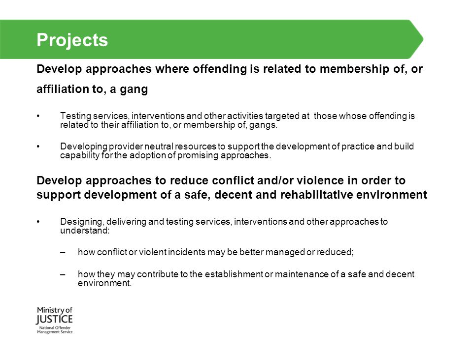 Projects Develop approaches where offending is related to membership of, or affiliation to, a gang Testing services, interventions and other activitie