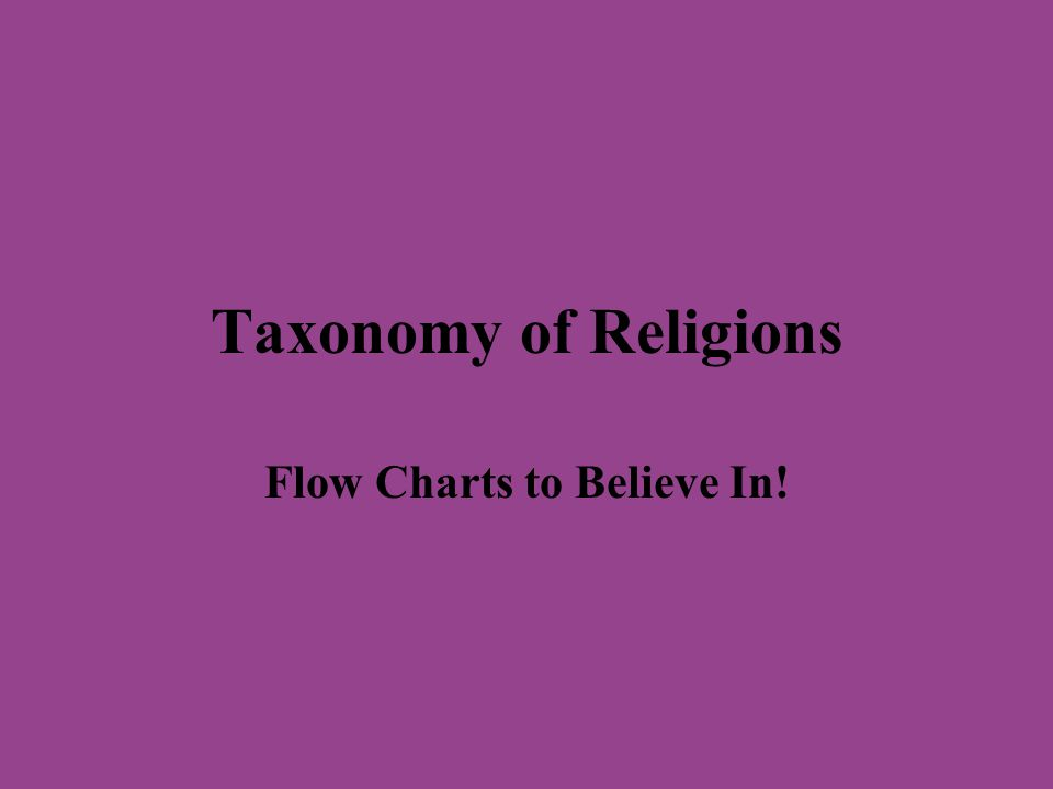 TAXONOMY OF RELIGIONS Taxonomy = the science or technique of classification To perform taxonomy, one must develop a variety of categories, which function as vectors of classification