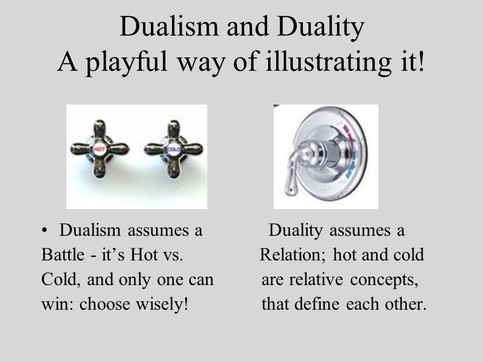 Dualism and Duality A playful way of illustrating it.