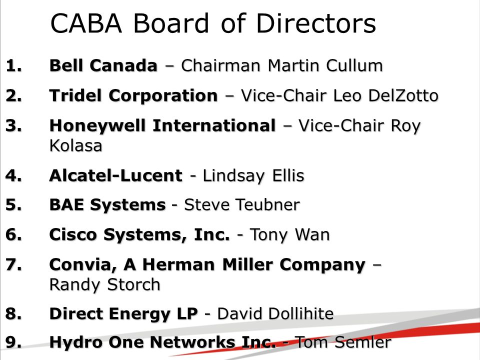 1.Bell Canada – Chairman Martin Cullum 2.Tridel Corporation – Vice-Chair Leo DelZotto 3.Honeywell International – Vice-Chair Roy Kolasa 4.Alcatel-Lucent - Lindsay Ellis 5.BAE Systems - Steve Teubner 6.Cisco Systems, Inc.