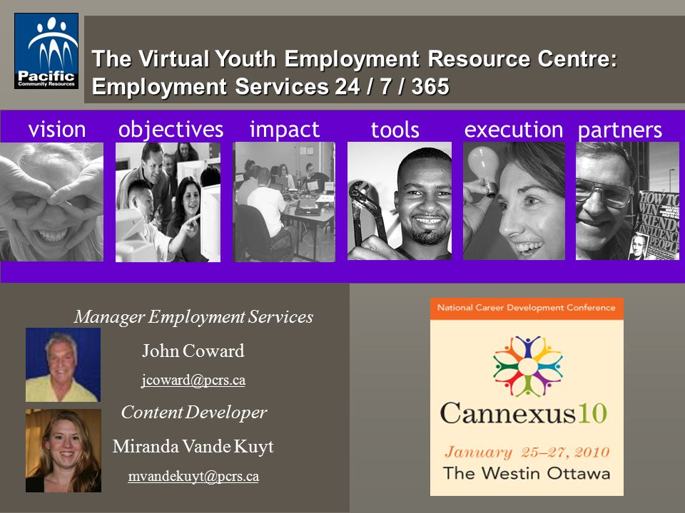 The Virtual Youth Employment Resource Centre: Employment Services 24 / 7 / 365 visionobjectivesimpact tools execution partners Manager Employment Services John Coward jcoward@pcrs.ca Content Developer Miranda Vande Kuyt mvandekuyt@pcrs.ca
