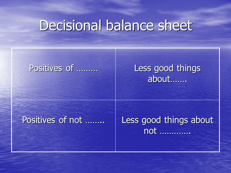 Decisional balance sheet Positives of ……… Less good things about……. Positives of not …….. Less good things about not ………….