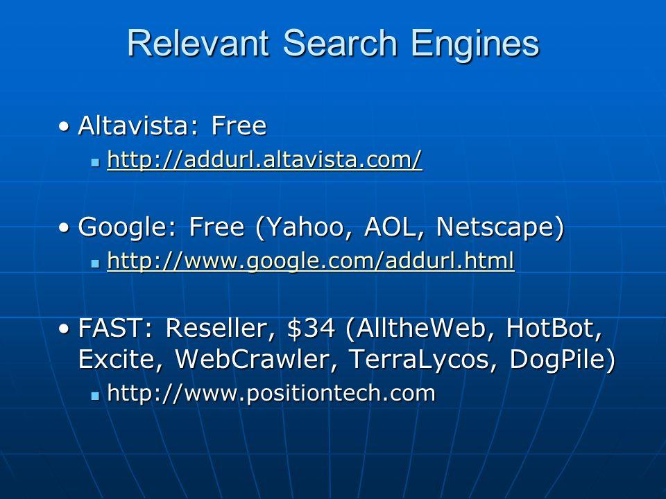Relevant Search Engines Altavista: FreeAltavista: Free http://addurl.altavista.com/ http://addurl.altavista.com/ http://addurl.altavista.com/ Google: