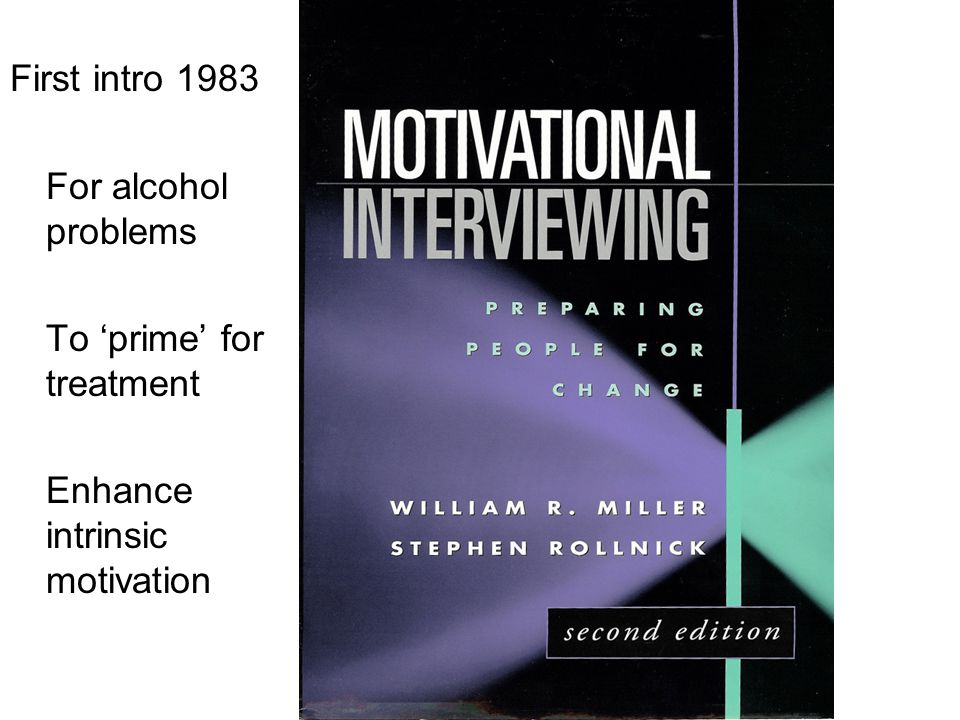 First intro 1983 For alcohol problems To 'prime' for treatment Enhance intrinsic motivation