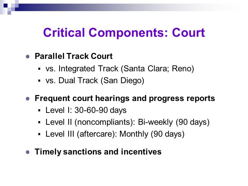 l Prompt assessment (1 day) l Prompt treatment (2-5 days) l Intensive case management  Track I - Twice weekly  Track II - Weekly  Track III - Twice monthly Critical Components: Treatment