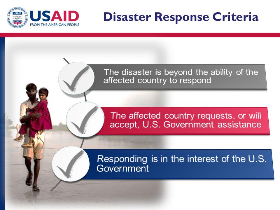 Disaster Response Criteria