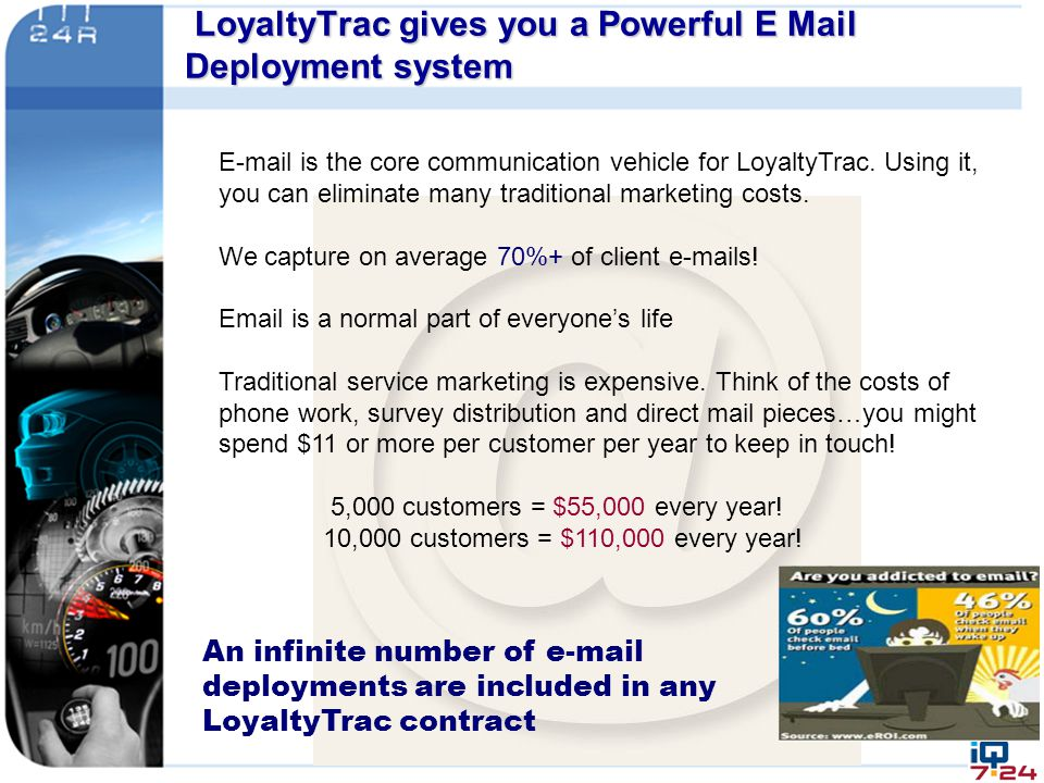 E-mail is the core communication vehicle for LoyaltyTrac. Using it, you can eliminate many traditional marketing costs. We capture on average 70%+ of