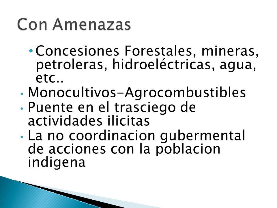 Concesiones Forestales, mineras, petroleras, hidroeléctricas, agua, etc..