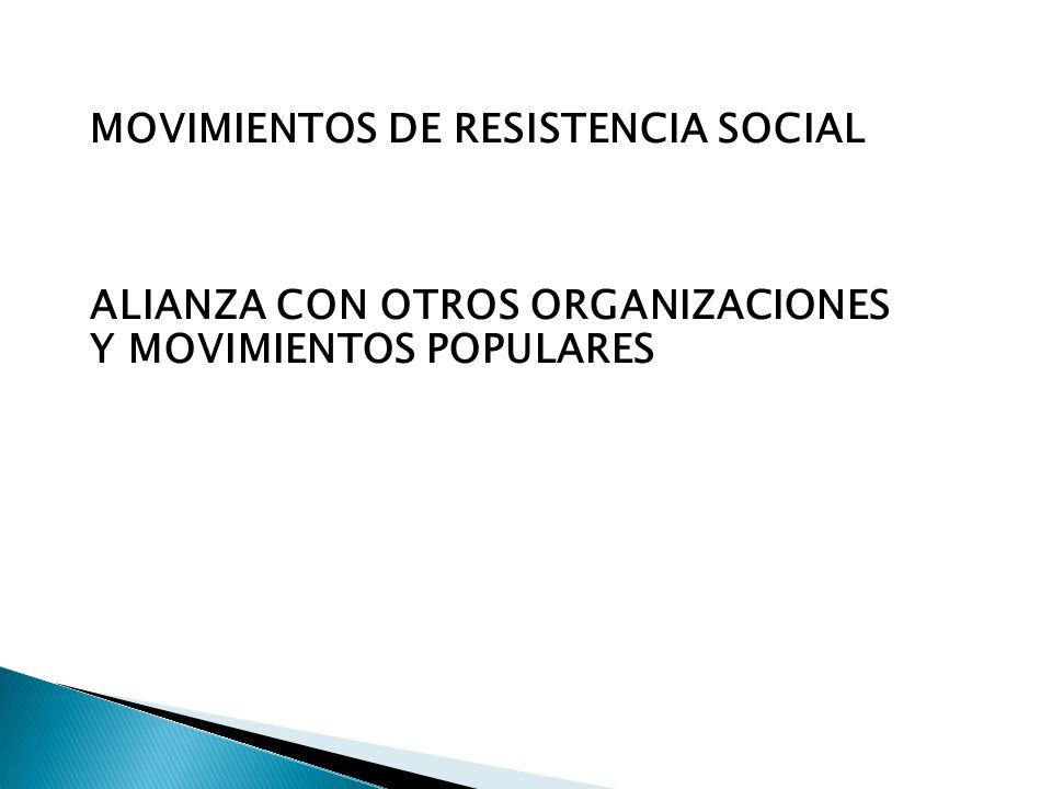 MOVIMIENTOS DE RESISTENCIA SOCIAL ALIANZA CON OTROS ORGANIZACIONES Y MOVIMIENTOS POPULARES