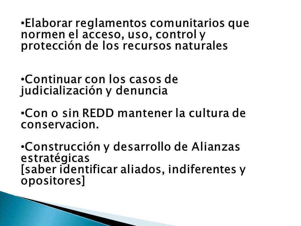 Elaborar reglamentos comunitarios que normen el acceso, uso, control y protección de los recursos naturales Continuar con los casos de judicialización y denuncia Con o sin REDD mantener la cultura de conservacion.