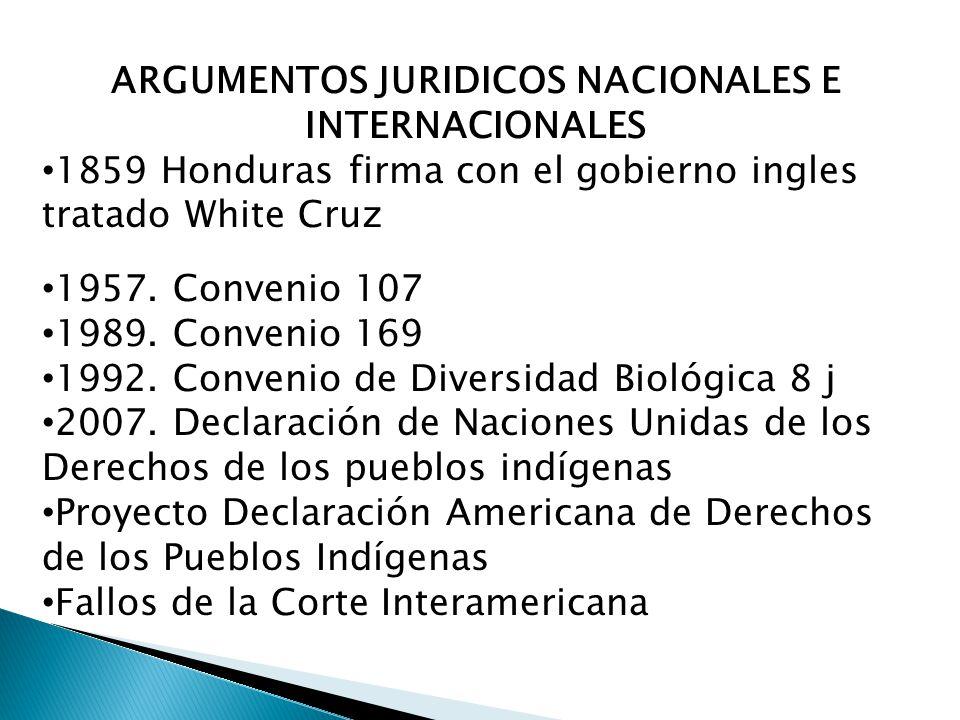 ARGUMENTOS JURIDICOS NACIONALES E INTERNACIONALES 1859 Honduras firma con el gobierno ingles tratado White Cruz 1957.