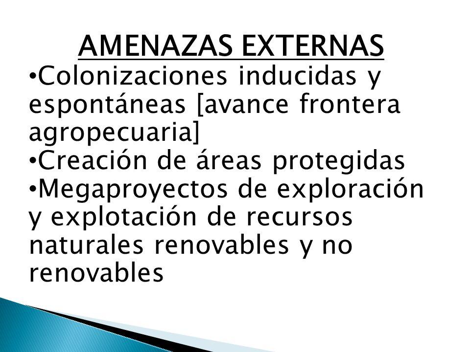 AMENAZAS EXTERNAS Colonizaciones inducidas y espontáneas [avance frontera agropecuaria] Creación de áreas protegidas Megaproyectos de exploración y explotación de recursos naturales renovables y no renovables