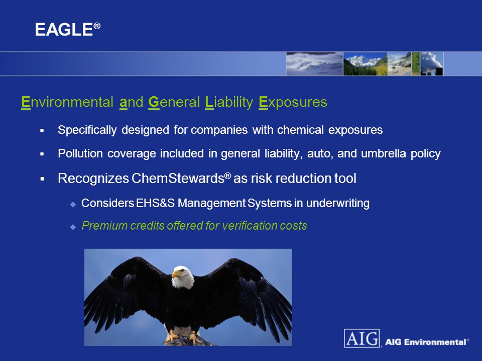 EAGLE ® Environmental and General Liability Exposures  Specifically designed for companies with chemical exposures  Pollution coverage included in g