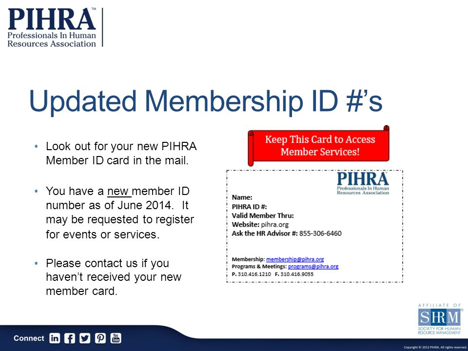 Updated Membership ID #'s Look out for your new PIHRA Member ID card in the mail.