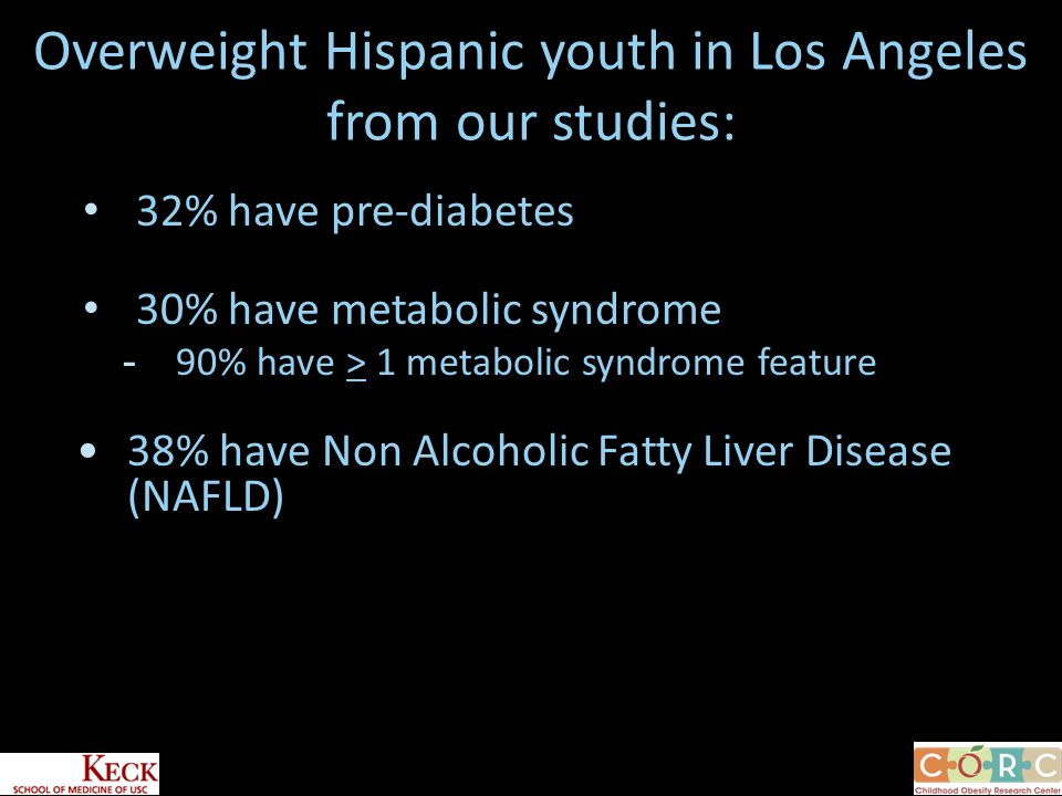 Overweight Hispanic youth in Los Angeles from our studies: 32% have pre-diabetes 30% have metabolic syndrome -90% have > 1 metabolic syndrome feature 38% have Non Alcoholic Fatty Liver Disease (NAFLD)