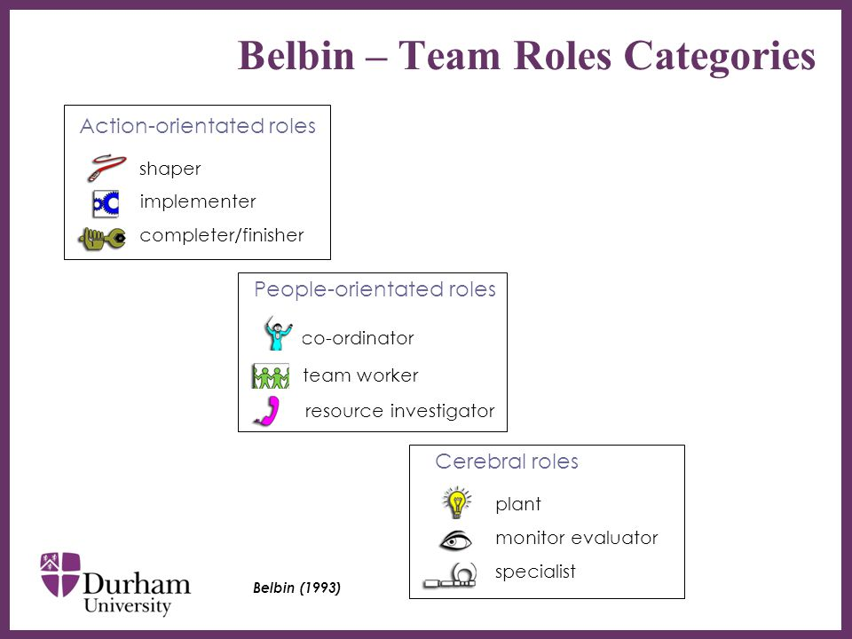 ∂ Belbin – Team Roles Categories Action-orientated roles shaper implementer completer/finisher People-orientated roles co-ordinator team worker resource investigator Cerebral roles plant monitor evaluator specialist Belbin (1993)