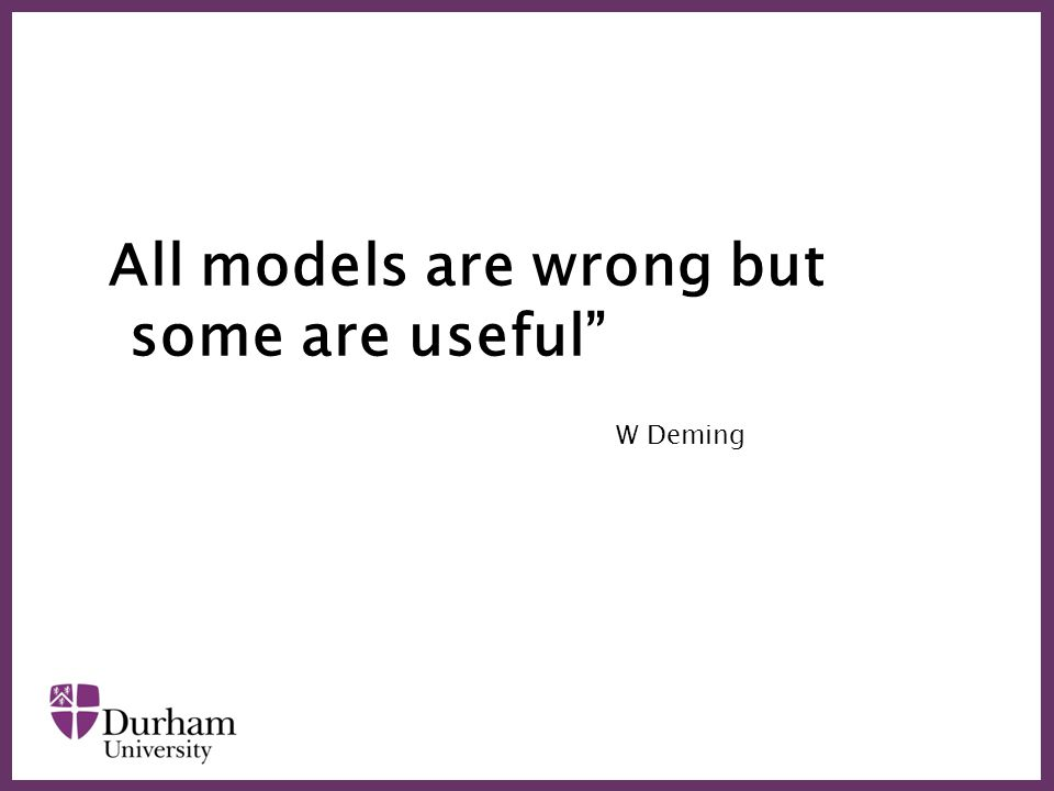 ∂ All models are wrong but some are useful W Deming