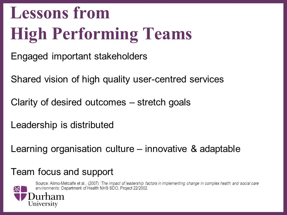 ∂ Lessons from High Performing Teams Engaged important stakeholders Shared vision of high quality user-centred services Clarity of desired outcomes – stretch goals Leadership is distributed Learning organisation culture – innovative & adaptable Team focus and support Source: Alimo-Metcalfe et al., (2007) 'The impact of leadership factors in implementing change in complex health and social care environments: Department of Health NHS SDO, Project 22/2002.