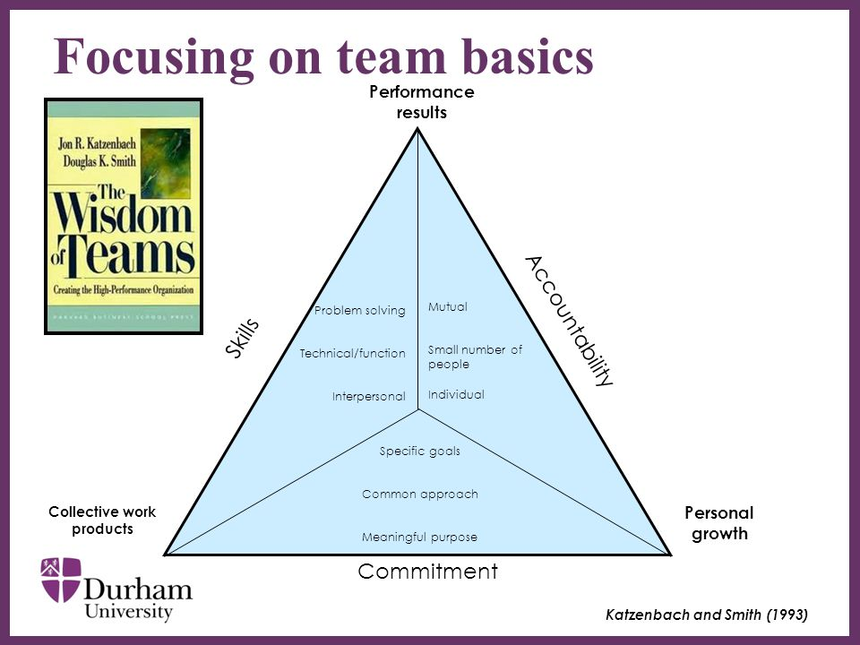 ∂ Six team basics define the discipline required for team performance Small number – generally less than 12 No team performs without complimentary skills Team must have: ₋ a common purpose ₋ commons set of specific performance goals ₋ commonly agreed working approach Hold each other mutually accountable for performance Other areas such as trust, openness, good communication etc.