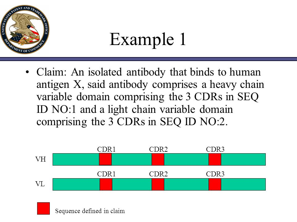 Analysis (cont.) The prior art does not support a definition of an antibody structure solely by defining the CDR3 sequence of a VH or VL.
