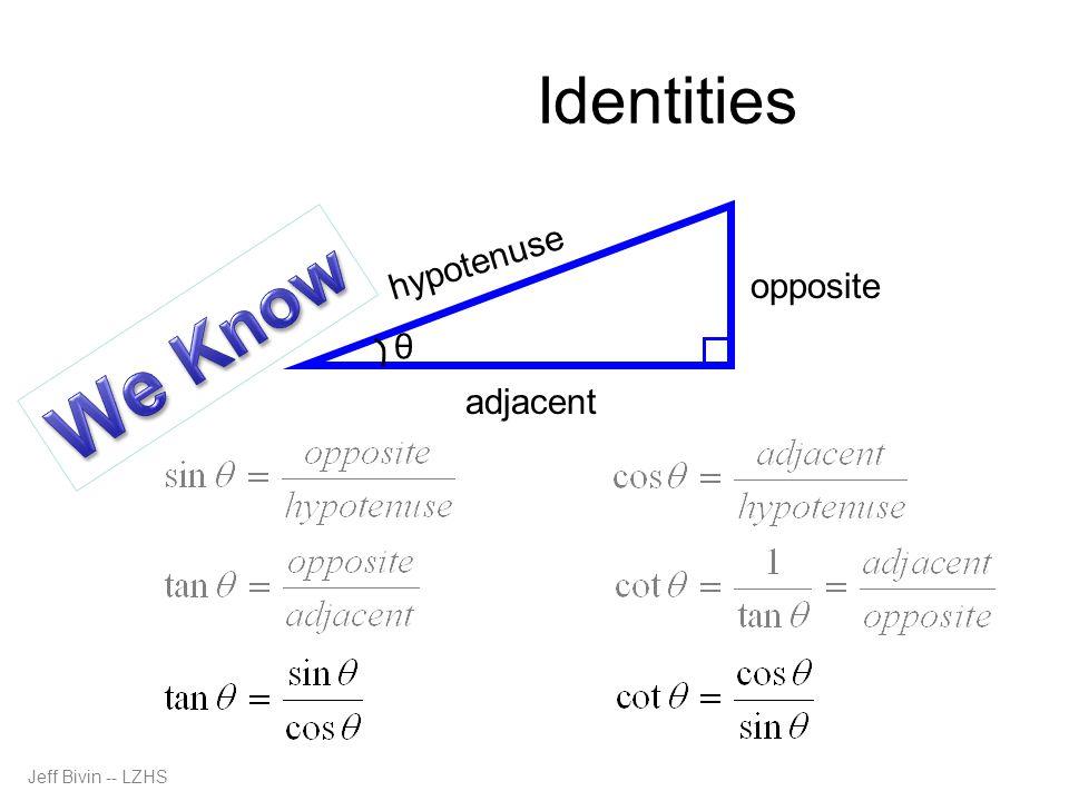 Quotient Identities θ opposite hypotenuse adjacent