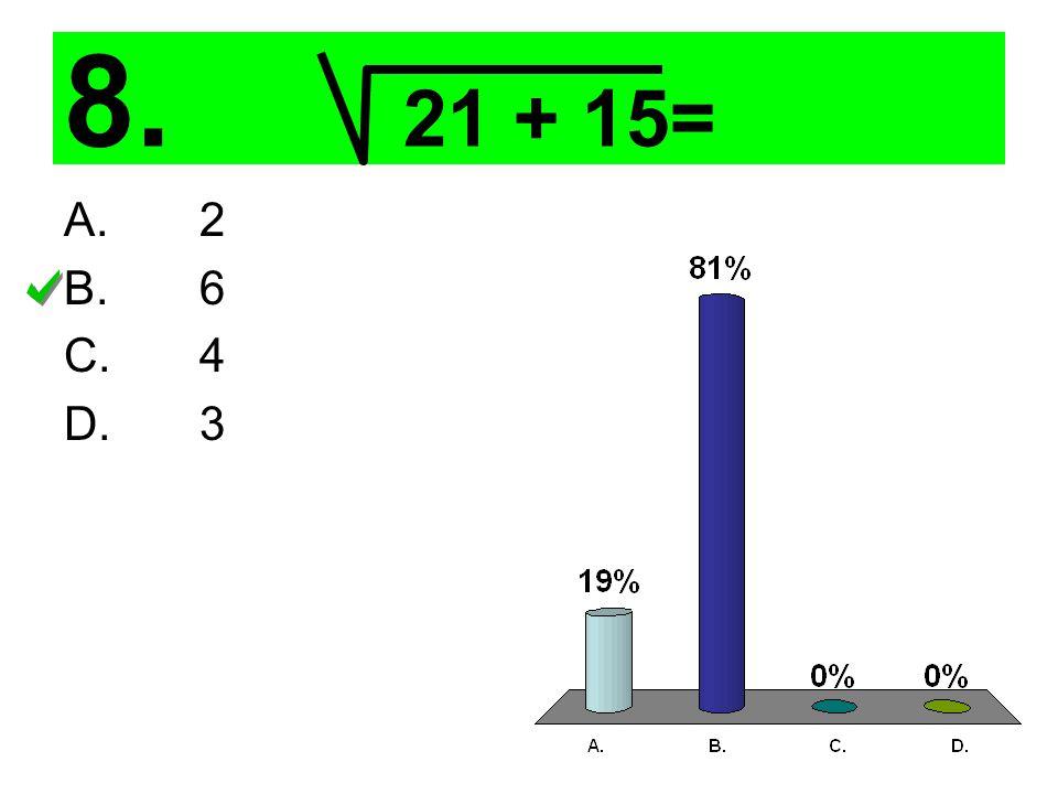 8. 21 + 15= A. 2 B. 6 C. 4 D. 3