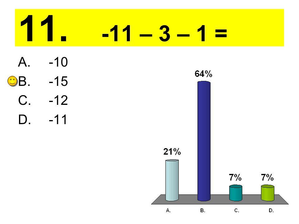 11. -11 – 3 – 1 = A. -10 B. -15 C. -12 D. -11