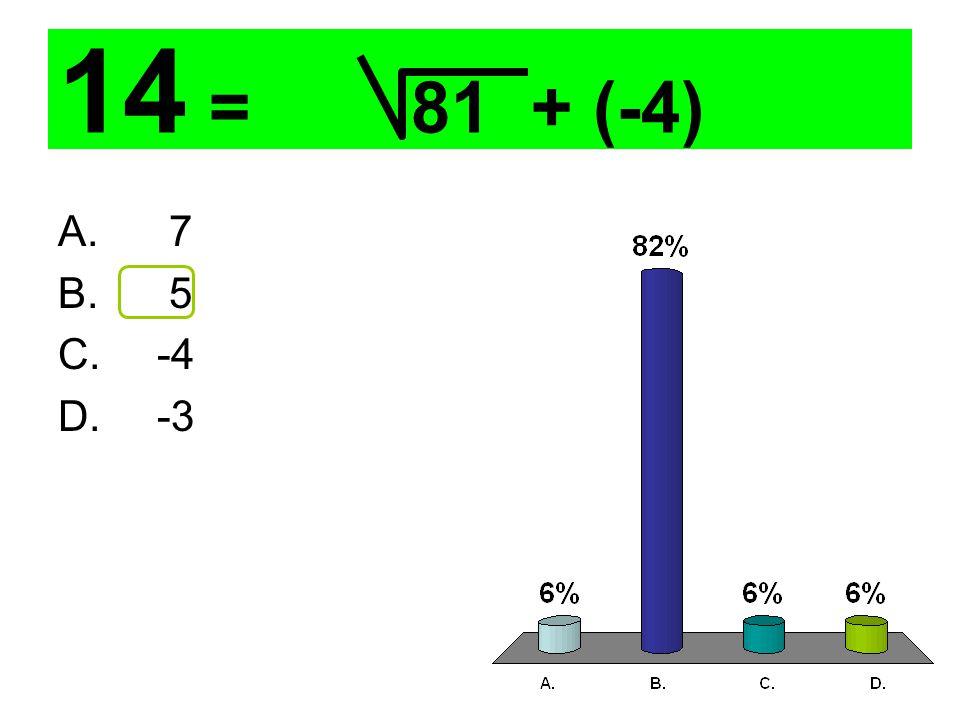 14 = 81 + (-4) A. 7 B. 5 C. -4 D. -3