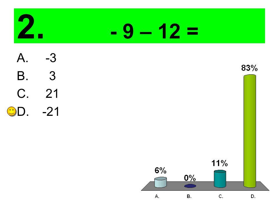 3. 9– (12) = A. 3 B. -3 C. 21 D. -21