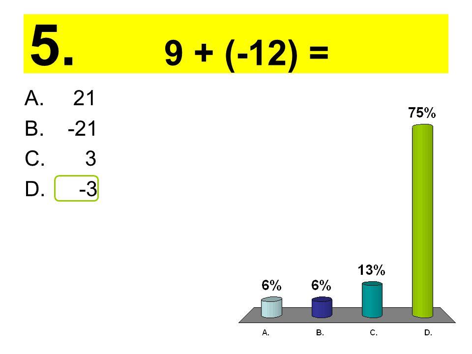 5. 9 + (-12) = A. 21 B. -21 C. 3 D. -3