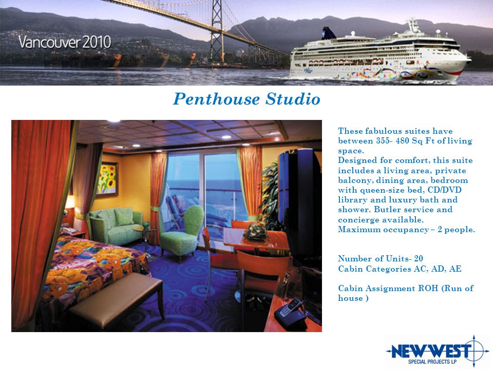Penthouse Studio These fabulous suites have between 355- 480 Sq Ft of living space.