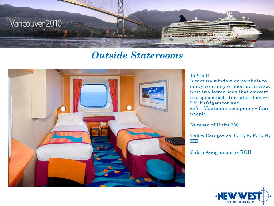 Outside Staterooms 159 sq ft A picture window or porthole to enjoy your city or mountain view, plus two lower beds that convert to a queen bed.