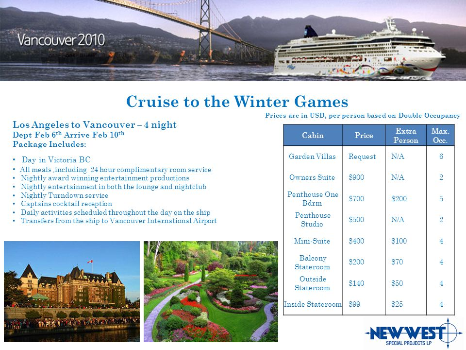 Cruise to the Winter Games CabinPrice Extra Person Max.