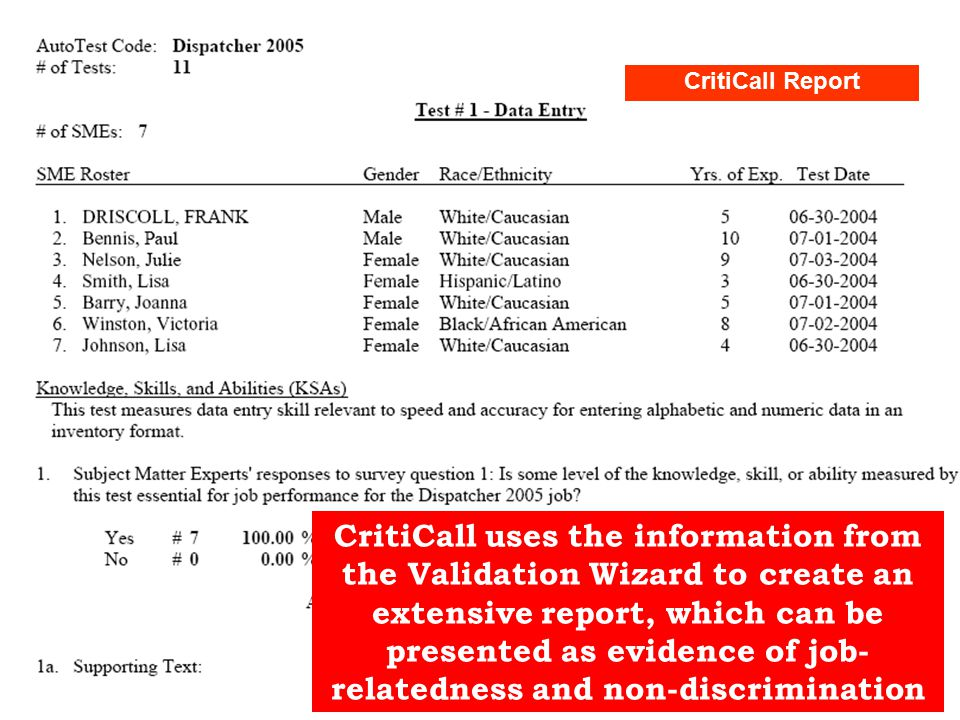 CritiCall uses the information from the Validation Wizard to create an extensive report, which can be presented as evidence of job- relatedness and non-discrimination CritiCall Report