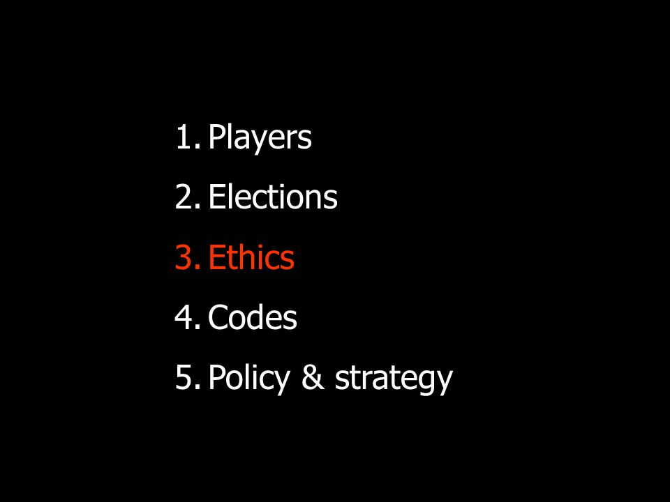 Ethics: not in a vacuum Contexts to take cognisance of: Media-politician-public dynamics.
