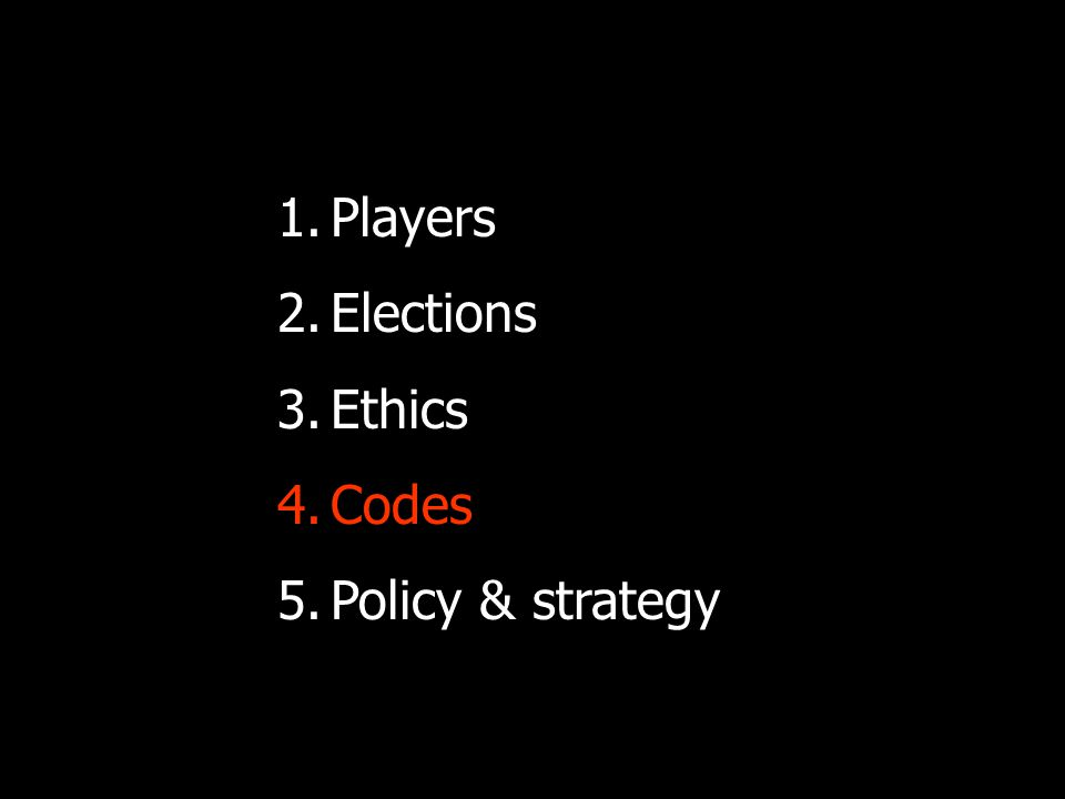 Consider a code: Make it specific and empowering: State your values and policy Set out practical points Define your evaluation for compliance Include review mechanisms and times Consider brokering it with other stakeholders, so that there are quid pro quo's.
