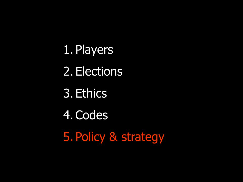 Policy for ethical election coverage Ethics and values as your foundation: Free media is a stakeholder in elections, not a disinterested observer.