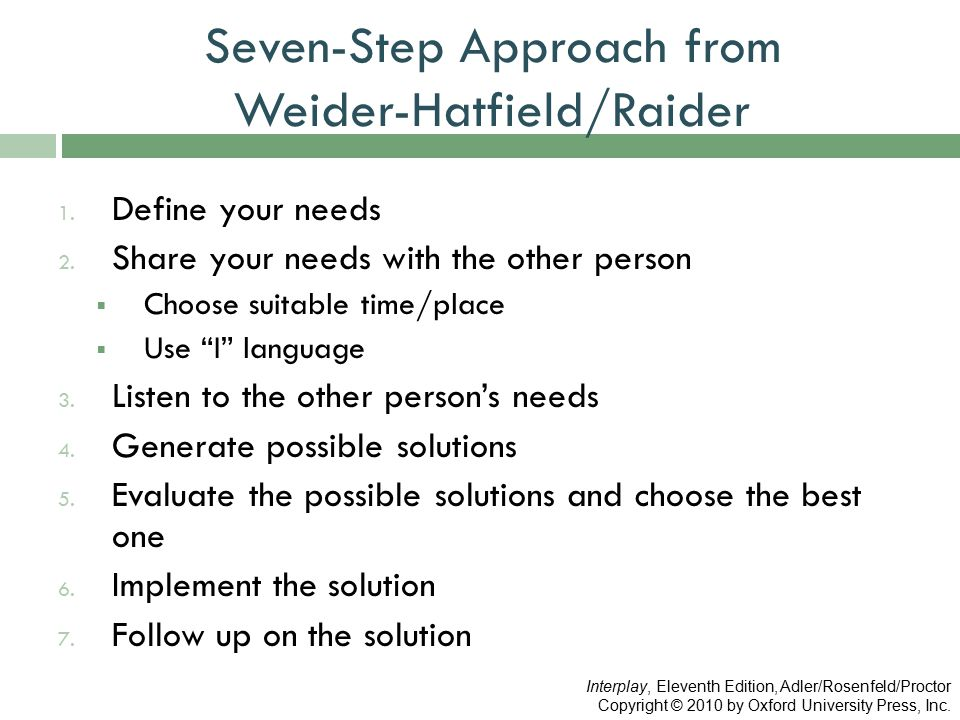 "Seven-Step Approach from Weider-Hatfield/Raider 1. Define your needs 2. Share your needs with the other person  Choose suitable time/place  Use ""I"""