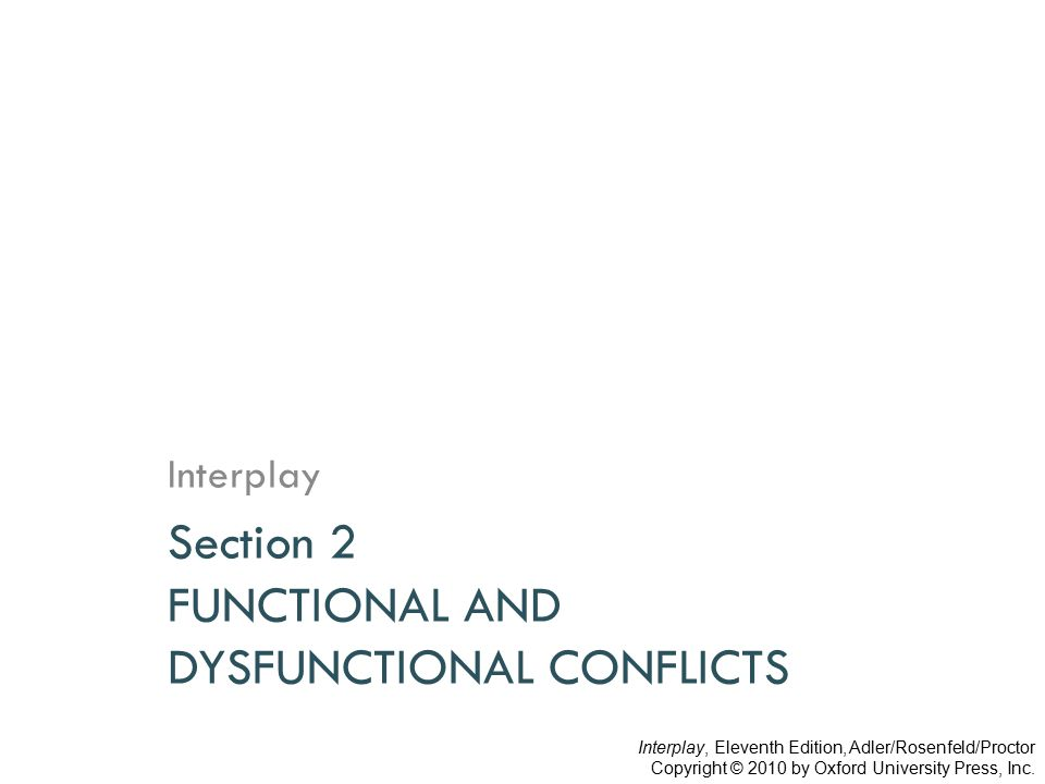 Functional and Dysfunctional Conflicts  Integration  Cooperation  Confirmation  Agreement  De-escalation  Focusing  Foresight  Polarization  Opposition  Disconfirmation  Coercion  Escalation  Drifting  Shortsightedness FunctionalDysfunctional Interplay, Eleventh Edition, Adler/Rosenfeld/Proctor Copyright © 2010 by Oxford University Press, Inc.